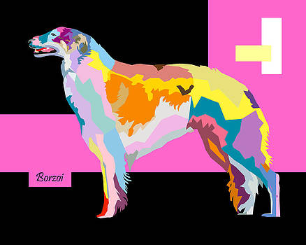 Borzoi Pop Art Style by Jim Bryson