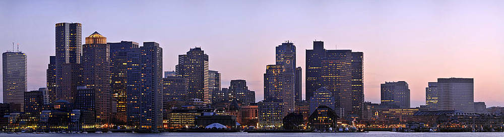 Boston skyline at sunset by Sebastien Coursol