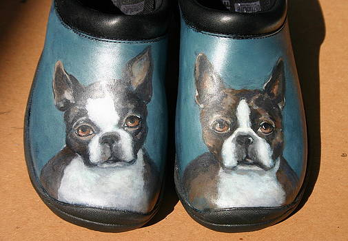 Boston Terriers Walk a Merrell by Alice Toler