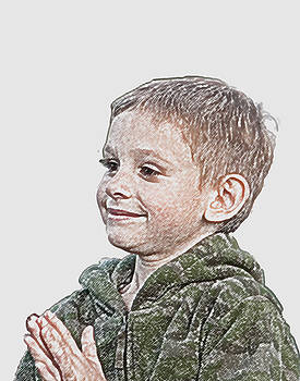 Boy in Camo with Hands Together by Carolyn Meuer-Pickering of Photopicks Photography and Art