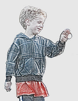 Boy in Plaid Playing with Little Ball by Carolyn Meuer-Pickering of Photopicks Photography and Art