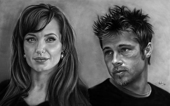 Brad and Angelina drawing by John Harding