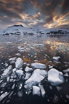 Colin Monteath - Brash Ice At Sunset Cierva Cove