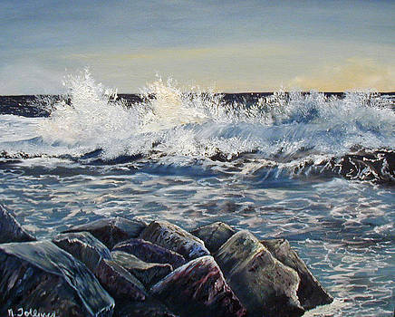 Breaking Waves and Jetty by Norma Tolliver