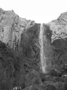 Bridal Veil Falls Black and White by Mary Schriber