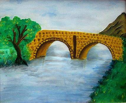 Bridge-Acrylic Painting by Rejeena Niaz
