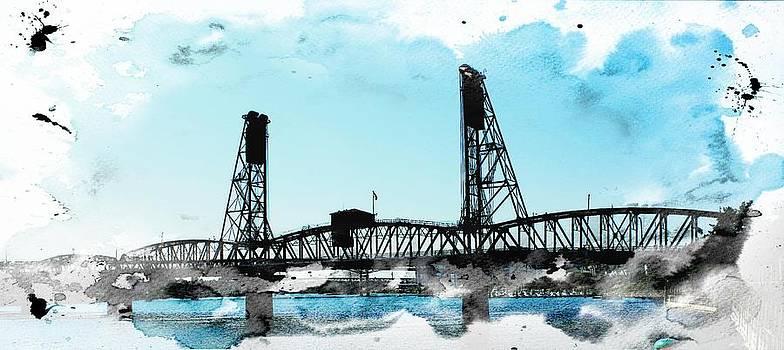Bridge Watercolor by Cathie Tyler