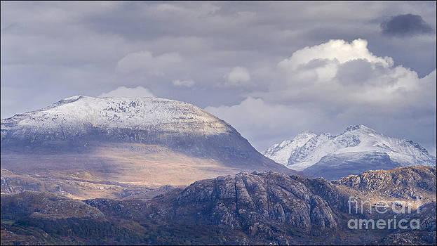 Brief Light and New Snow on Beinn Aligin and Leatach Scotland by George Hodlin