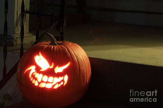 Bright and Colorful GLOWING Halloween Pumpkin by Robert D  Brozek