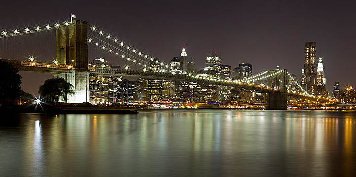 Val Black Russian Tourchin - Brooklyn Bridge at Night Panorama 1