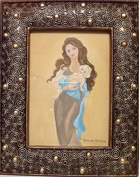 Brunette Madonna and Child by Brenda  Bell
