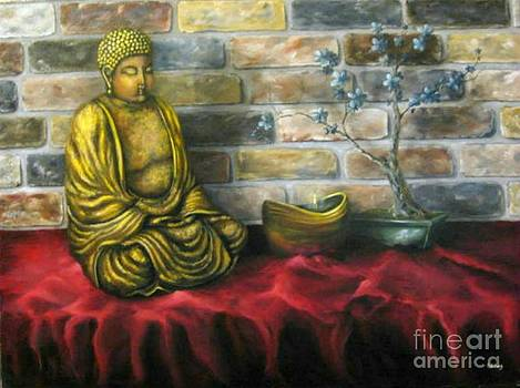 Buddha and Candle by Patricia Lang