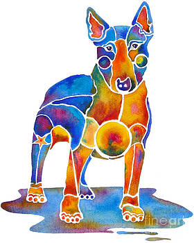 Bull Terrier Dog Art by Jo Lynch