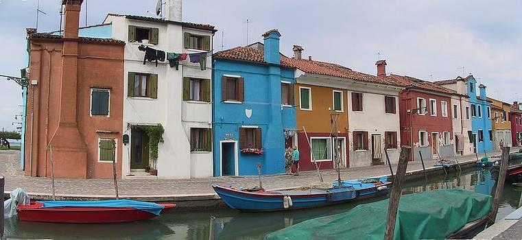 Burano Italy pano 2 by Len Yurovsky
