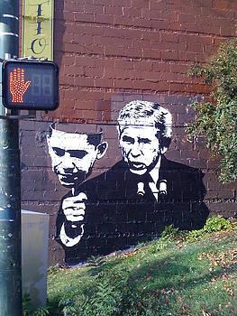 Bush With Obama Mask by Dustin Spagnola