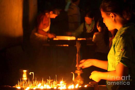 Butter Lamps at Night Boudha Stupa by Serena Bowles
