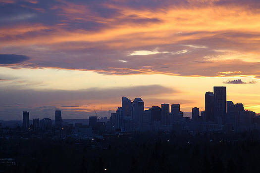 Calgary Skyline Sunset in April by James Bryron Love