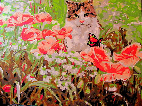 Calico cat in poppies with butterfly by Amy Bradley