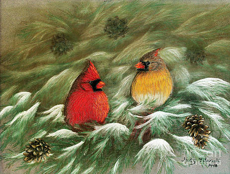 Cardinals in Winter Male and Female Cardinals by Judy Filarecki
