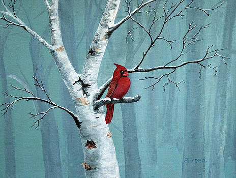 Cardnal On A Perch by LaReine McIlrath