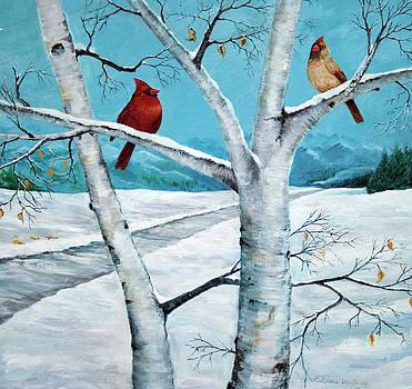 Cardnals on a Birch Tree by LaReine McIlrath