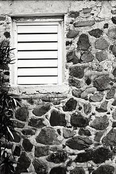 Caribbean stone wall with window in black and white by Anya Brewley schultheiss