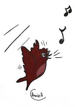 Cartoon Bird Singing by Annie Abraham