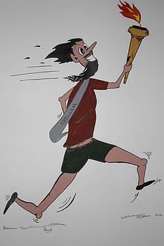 Cartoon Marathon Runner by Annie Abraham