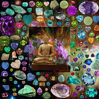 Cat and Buddha Gems in Space by Susan Ragsdale