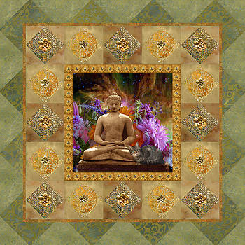 Cat and Buddha Glitter Frame by Susan Ragsdale