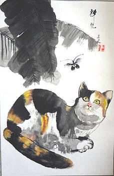 Cat And Butterfly by Lian Zhen
