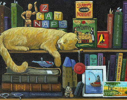Cat Naps - old books oil painting by Linda Apple