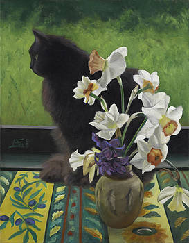 Cat with Daffodils by Mary Gingrich