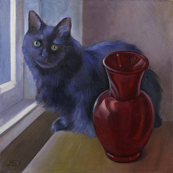 Cat with Red Glass Vase by Mary Gingrich