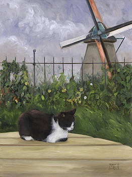 Cat with Windmill by Mary Gingrich
