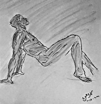 Charcoal Drawing of Classic Male Nude Figure Dancing a Lyrical Modern Dance Naked Man Drawing Erotic by M Zimmerman