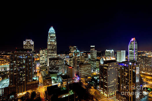 Charlotte NC close in at night by Patrick Schneider