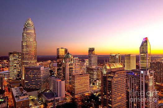 Charlotte NC skyline close in by Patrick Schneider