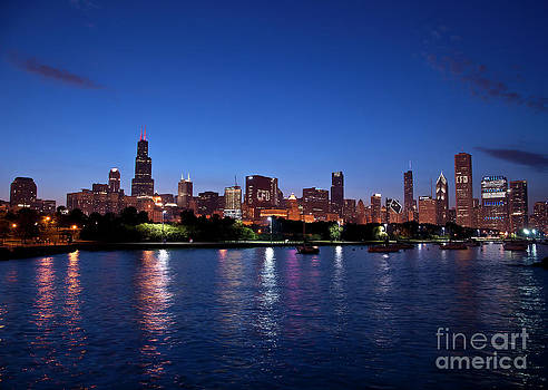 Chicago Skyline at Dusk by Maria Aiello