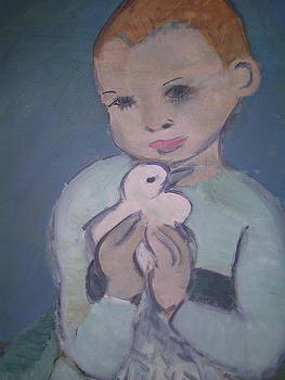 Child holding dove by Rebecca Lilley
