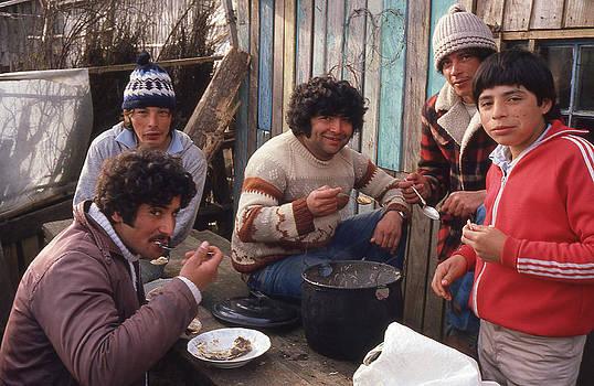 Chilean Fishermen Eating by Thomas D McManus