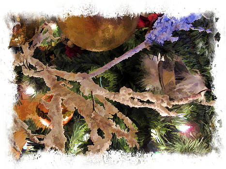 Chantal PhotoPix - Christmas Season Decorations - Frosty Branches w Gold Baubles and Xmas Lights - Tree Ornaments Frame