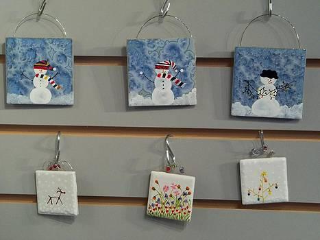 Christmas Tile Ornaments by Joyce Kerr