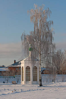 Church on a frosty day by Mikhail Pankov