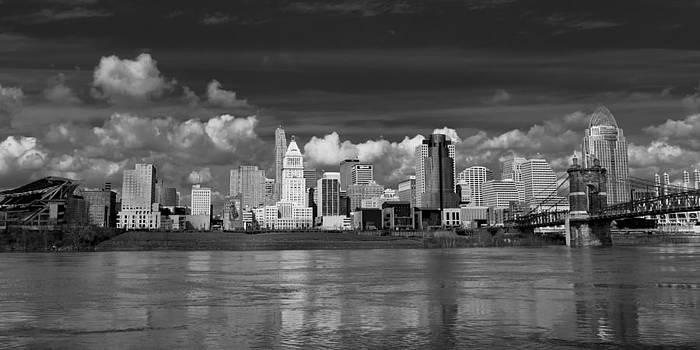Cincinnati Skyline BW by Keith Allen