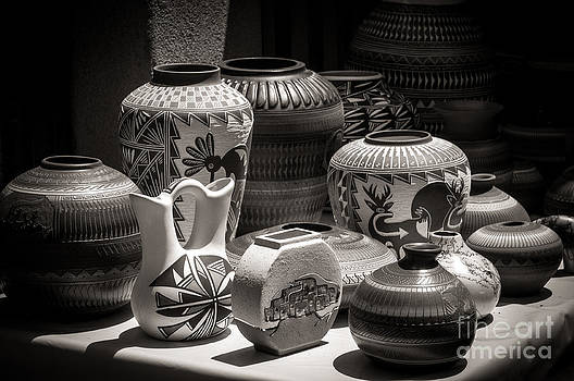 Clay Pots Black and White by Sherry Davis