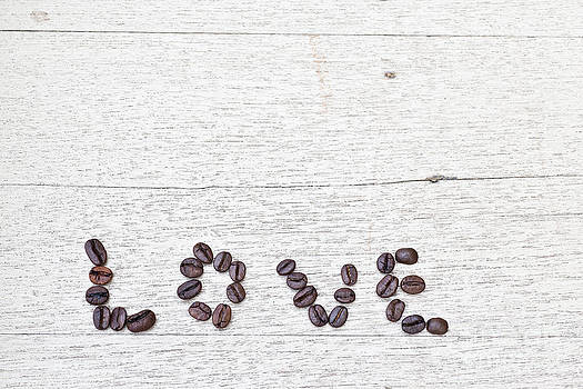Coffee Beans And Word Of Love by Chavalit Kamolthamanon