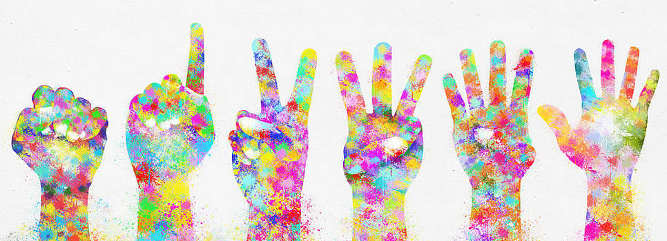 Colorful Painting Of Hands Number 0-5 by Setsiri Silapasuwanchai