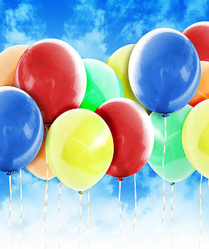 Colorful Party Celebration Balloons in Sky by Angela Waye