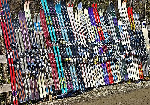 Colorful Snow Skis by Susan Leggett